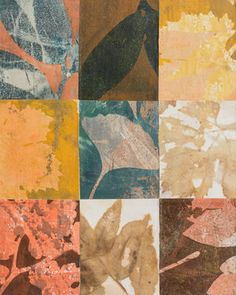 "Leaf Count 3, 9"" x 12,"" Monoprint Collage"