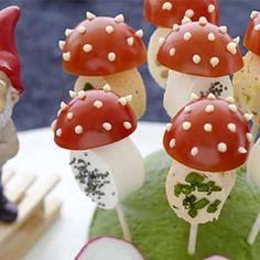 Recette : Champignons magiques à la tomate cerise et fromage frais - Recette au...