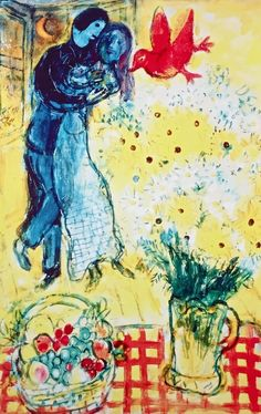 Lovers & Daisies, Limited Edition Giclee, Marc Chagall