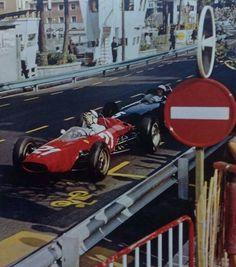 #21 John Surtees...Scuderia Ferrari SpA SEFAC...Ferrari 156/63...Motor Ferrari 178 V6 1.5...#5 Richie Ginther...Owen Racing Organisation... BRM P57...Motor BRM P56 V8 1.5...GP Monaco 1963