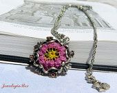 Love of My Life Necklace with Needle Lace Flower with Pink Swarovski Crystals on the frame