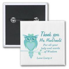 Latest sale Owl teacher appreciation button badge designed by www.sarahtrett.com