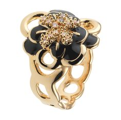 CIRO Jewelry Traviata gold flower ring. White CIROLIT stones. Black enamel. Available in multiple ring sizes. Gold plated.