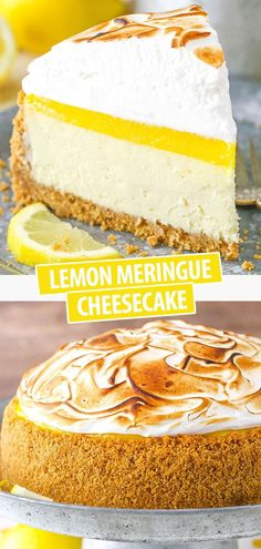 This Lemon Meringue Cheesecake is made with a buttery graham cracker crust creamy cheesecake tart lemon curd and toasted meringue! The flavors are absolutely amazing and its seriously one of my favorite cheesecakes! Best Lemon Meringue Pie, Lemon Meringue Cheesecake, Cheesecake Tarts, Lemon Curd, Cheesecake Recipes, Best Homemade Cheesecake Recipe, Cheesecake Strawberries, Dessert Simple, Mini Cheesecakes