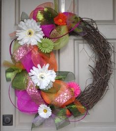 Spring Mesh Wreath by jennie
