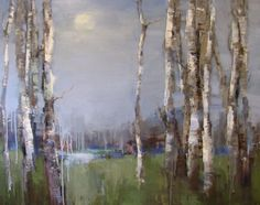 Barbara Flowers: Moon and Birch Oil on Canvas, 38 x 48