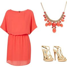 Coral Dress Outfit :)