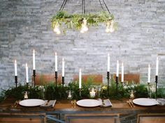 Beautifully simple winter tablescape featuring a fern runner