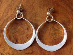 Vintage Sterling Silver Norway Anna Greta Eker Hammered Hoop Earrings Modernist | eBay
