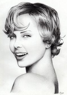 Portrait sketch of Charlize Theron Pencil Art, Pencil Drawings, Art Drawings, Celebrity Drawings, Celebrity Portraits, White Art, Black And White, Glamour Shots, Media Images