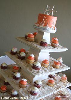 "Design W 0303   Butter Cream Wedding Cake   6"" + Cupcakes   Sugar Sand & White Chocolate  Sea Shells   Custom Quote"