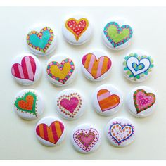 Assorted Heart Magnets Set of 14 Party Favors by o. - Assorted Heart Magnets Set of 14 Party Favors by o. Pebble Painting, Dot Painting, Pebble Art, Stone Painting, Rock Painting Patterns, Rock Painting Ideas Easy, Rock Painting Designs, Canvas Patterns, Stone Crafts