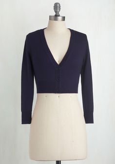 The Dream of the Crop Cardigan in Navy - Blue, Solid, Buttons, Work, Casual, Variation, V Neck, Winter, Best Seller, 3/4 Sleeve, Blue, 3/4 Sleeve, Spring, Short, Press Placement, Knit, Good, 4th of July Sale, Americana, Top Rated