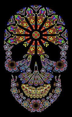 Sugar Skull Glass Stain-Vera. Mexican Day of the Dead Celebration.