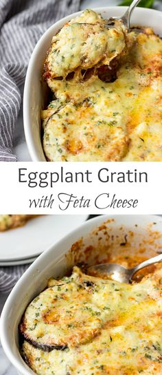 Eggplant Gratin is so good! Tender eggplant is layered with a tomato sauce, Gruyere and drizzled with a creamy Feta sauce. Baked until bubbly perfection.