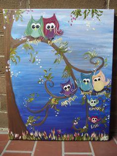 "Custom ""Owl Family Tree"" Painting"