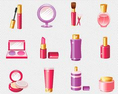 Makeup Compact Clip Art | Make up Clipart. Cosmetics Clipart. Digital Cosmetic. Make up thngs ...