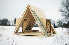 Build a Shed on a Weekend Without Experience Tiny Cabins, Tiny House Cabin, Cabins And Cottages, Cabin Homes, A Frame House Plans, A Frame Cabin, Tiny House Plans, Cabin Design, Tiny House Design