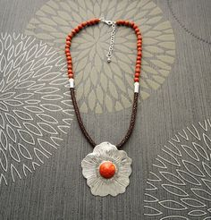 Mom - Coral Necklace with Silver Sterling Silver Pendant by KRAMIKE
