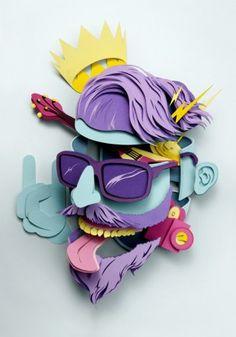 Origami Illustration Design Inspiration Papercraft New Ideas Art And Illustration, Paper Artwork, Cut Paper Art, Artwork Paintings, Grafik Design, Art Plastique, Paper Cutting, Illustrators, Design Art