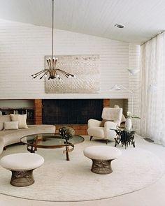 White wood ceiling, white brick, curtains