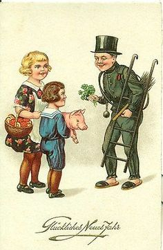 German Happy New Year good luck postcard with chimney sweep, pig, 4 leaf clovers