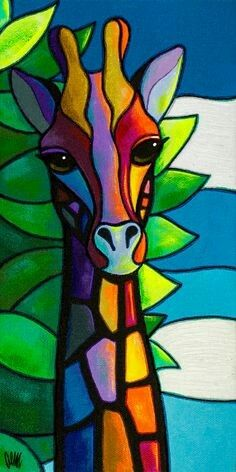 This is a fine print of the original painting. wohnung wohnideen stauraum High There Arte Pop, Stained Glass Patterns, Stained Glass Art, Afrique Art, Giraffe Art, Giraffe Drawing, Giraffe Painting, Painting & Drawing, Yarn Painting
