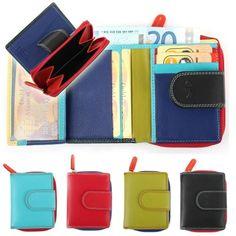 Farbige Damenbörse im Kleinformat mit Reißverschluss - kleine Geldbörse
