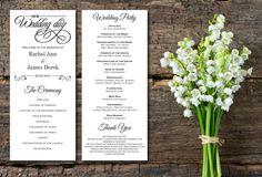 Wedding Program White Kraft Paper Rustic by EleganceisInfinite