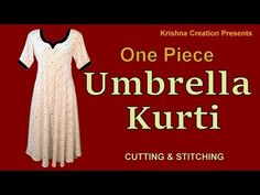 """In this video, I will show you One piece Umbrella Kurti drafting, cutting Stitching, """"You will need 3 Meters of Fabric with the wide width,"""" I will show you . Back Neck Designs, Dress Neck Designs, Blouse Designs, Long Kurti Patterns, Umbrella Skirt, A Line Kurti, Pola Rok, Couture Skirts, Dress Tutorials"""
