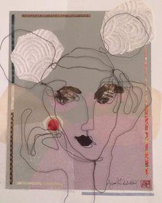 Mixed media. Steel wire portrait. Paper collage. Elle. 50x50 cm.