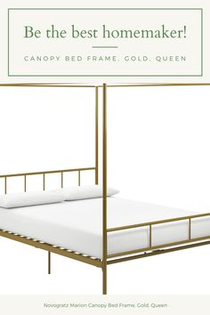 Novogratz Marion Canopy Bed Frame, Gold, Queen Country Curtains Catalog, Canopy Bed Frame, Interior Decorating, Interior Design, Soft Furnishings, Bed Sheets, Luxury Homes, Upholstery, Cushions