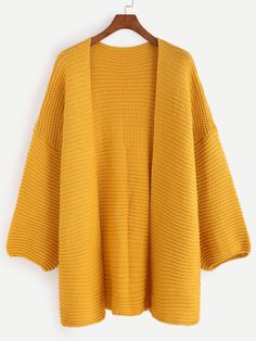 Yellow Drop Shoulder Lantern Sleeve Slit Sweater Coat — € --color: Yellow size: one-size Chunky Knit Cardigan, Crochet Cardigan, Knitted Coat, Oversized Coat, Cardigan Fashion, Easy Knitting, Sweater Coats, Pulls, Sleeves