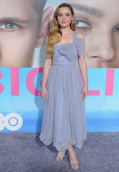 Actress Kathryn Newton arrives at the Los Angeles premiere 'Big Little Lies' at TCL Chinese Theatre on February 7 2017 in Hollywood California Big Little Lies, Hollywood California, In Hollywood, Kathryn Newton, Blue Dresses, Formal Dresses, Style Me, Actresses, Theatre