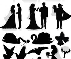 Silhouette newlyweds vector - FABULOUS Wedding images!!
