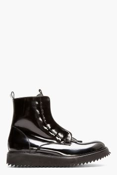DAMIR DOMA Black Patent Leather Fusco Boots
