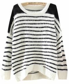Black White Striped Long Sleeve Loose Sweater pictures