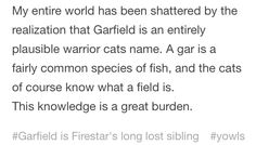 My entire world has been shattered by the realization that Garfield is an entirely plausible warrior cats name. A gar is a fairly common species of fish, and the cats of course know what a field. Warrior Cats Quotes, Warrior Cat Names, Warrior Cats Funny, Warrior Cats Comics, Warrior Cats Series, Warrior Cats Books, Warrior Cats Fan Art, Cat Comics, Warriors Memes