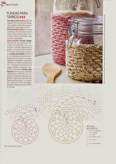 Bote Crochet Jar Covers, Crochet Case, Crochet Diy, Crochet Motifs, Freeform Crochet, Crochet Diagram, Crochet Gifts, Crochet Doilies, Crochet Patterns