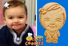"""1st Birthday party ideas - Custom Cookies #happybirthday #partyfavors<---this is the dumbest thing I've ever seen! """"Here everyone! Munch on my kid!"""""""