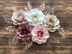 Set of 5 Paper Flowers, Paper Roses, nursery decor - Decoration Papier White Paper Flowers, Paper Flower Decor, Paper Flower Backdrop, Flower Wall Decor, Diy Flowers, Flower Decorations, Paper Flower Centerpieces, Handmade Paper Flowers, Paper Flowers For Wedding