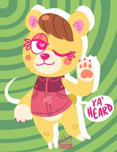 Tammy the cub from Animal Crossing: New Leaf! shes my favorite character, shes so cute n' sassy~ Tammy // Animal Crossing; Strawberry Butter, New Leaf, Animal Crossing, Cubs, Pikachu, Fandoms, Animals, Fictional Characters, Art