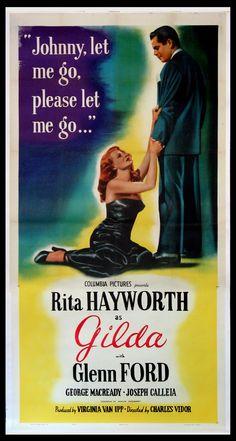 GILDA  (R-1950) Original three sheet size, 41x81 movie poster.