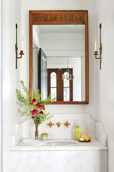Home Remodel Ideas See How One Designer Moved Back Home to Build Her Dream Cottage- Powder Room.Home Remodel Ideas See How One Designer Moved Back Home to Build Her Dream Cottage- Powder Room Bathroom Interior, Modern Bathroom, Small Bathroom, Master Bathroom, Bathroom Ideas, Bathroom Closet, Shower Ideas, Bathroom Sinks, Washroom