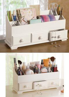 """White 3 Drawer Desk & Makeup Storage Organizer - 5 3/4""""L x 4 1/2""""W x 7 1/4""""H, $35.98"""
