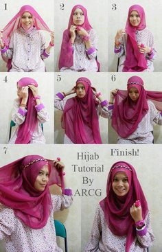 How to wear a hijab with a headband tutorial