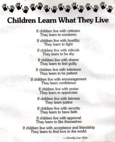 Children learn what they live.. I LOVE this and am so glad I found it.