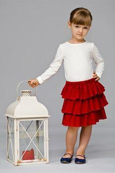 spódnica Faabeli Warstwowa, ciepła spódnica uszyta z trzech falbanek, na miłej w dotyku podszewce.