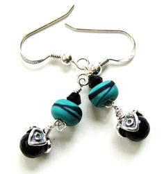 turquoise and black lampwork glass & onyx earrings