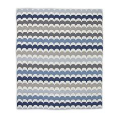 RicRac Blue and Gray Knit Baby Blanket - love the modern, scallop design and super-soft feel! #PNshop